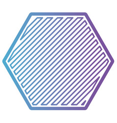 hexagon shape emblem in color gradient silhouette vector image