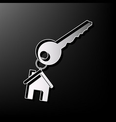 Key with keychain as an house sign gray vector