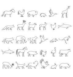 one line animals set logos stock vector image