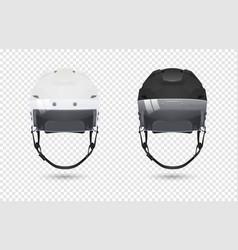 Realistic classic ice hockey helmets with visor vector