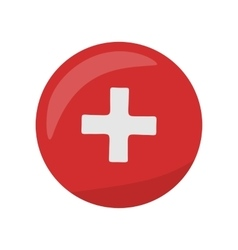 Red Cross Icon on Button First Medical Aid Sign vector image vector image