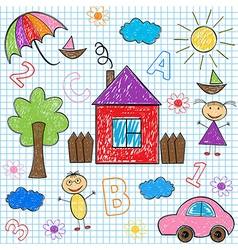 seamless pattern kids drawings vector image