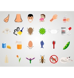 Set icons of allergy in a flat design vector image