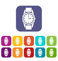 Swiss watch icons set vector