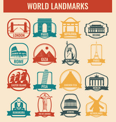 Travel badges and labels world famous landmarks vector