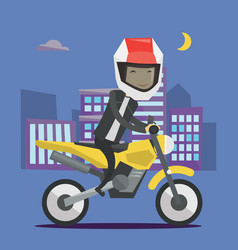 young man riding motorcycle at night vector image