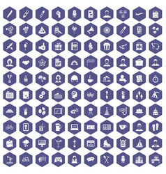 100 team building icons hexagon purple vector