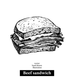Hand drawn sketch beef sandwich isolated food vector