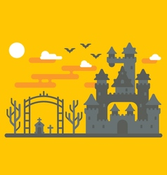 Flat design creepy castle vector