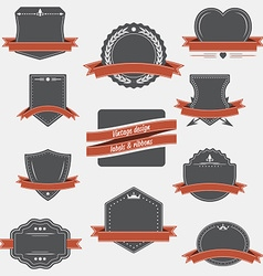 Vintage labels and ribbons retro style set design vector