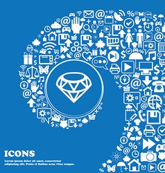 Diamond Icon sign Nice set of beautiful icons vector image
