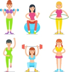 Women fitness cartoon icons collection vector
