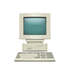 Vintage computer isolated on white vector