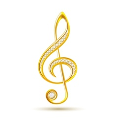 Golden treble clef with diamonds vector