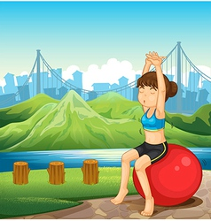 A girl exercising near the river across the vector