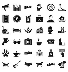 charity icons set simple style vector image