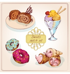 Sweets sketch colored set vector