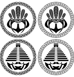 Stencils of native indian american masks vector