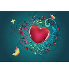 Heart with Floral and Butterflies2 vector image