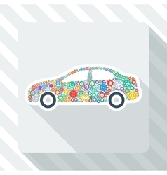 Icon with the car of colorful gear vector