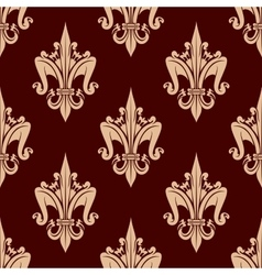 Beige and brown floral seamless pattern vector image