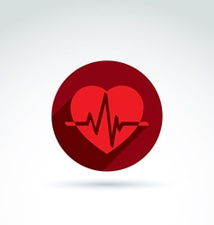A red heart symbol with an ecg placed in vector