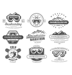 Snowboarding logo and label template set vector