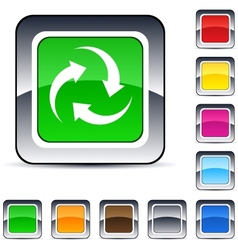 recycle square button vector image