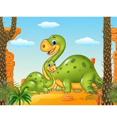Happy mother with baby dinosaur in prehistoric vector