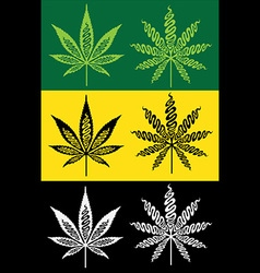 Cannabis marijuana hemp textured leaf symbol vector