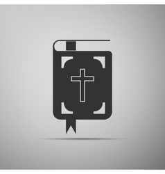 Bible icon on grey background vector