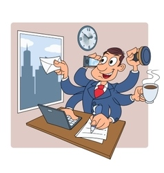 Busy businessman at office 2 vector