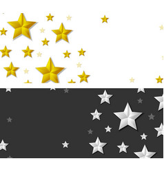 Abstract banners with silver and golden stars vector