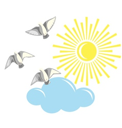 Birds and sun vector image