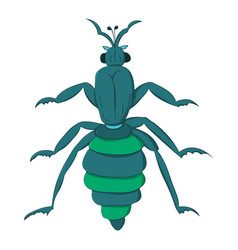 Blue striped beetle with long paws and a rattle vector