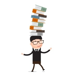 Boy playing with books vector image vector image