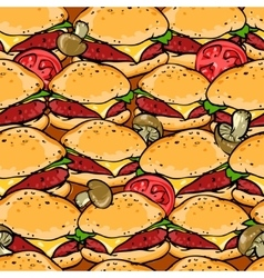 Burger seamless pattern vector image vector image
