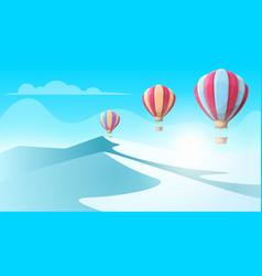 cartoon ice landscape air balloon vector image vector image