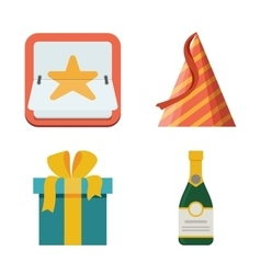 Celebration icon set Bright flat vector image