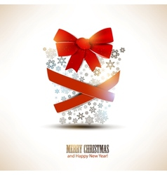 Christmas gift box made from snowflakes Christmas vector image vector image