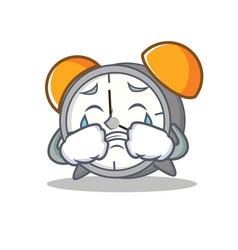 Crying alarm clock mascot cartoon vector
