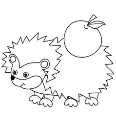 cute cartoon hedgehog with apple vector image