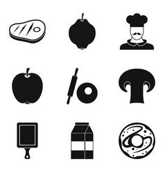 Delicious appetizer icons set simple style vector