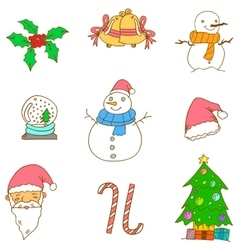 Doodle of christmas set vector