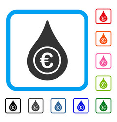euro liquid drop framed icon vector image