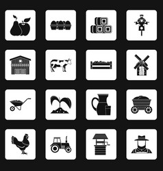 Farm icons set squares vector