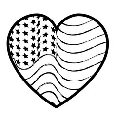 Figure nice heart with usa flag inside vector