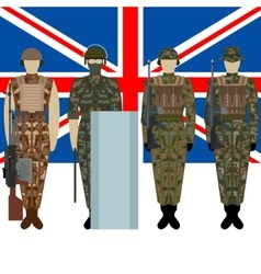 Flag of Great Britain and soldiers vector image