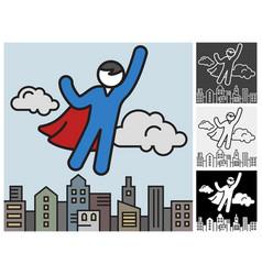 flying superhero save city vector image
