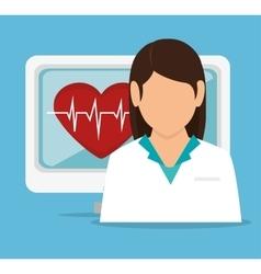 Girl doctor computer pulse heart vector